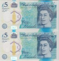TWO B414 CLELAND FIVE POUNDS AA08 & AA20 NOTES IN NEAR MINT CONDITION