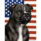 Patriotic (D2) Garden Flag - Black and White Staffordshire Bull Terrier 322311