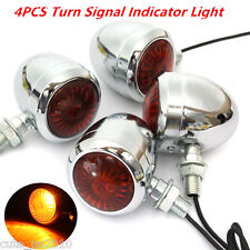 4Pcs Metal Motorcycle Turn Signal Indicator Light Lamp Bulb For Honda Cafe Racer