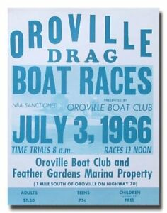 1966 Oroville Boat Drag Racing vintage reproduction poster print 60's 1960's