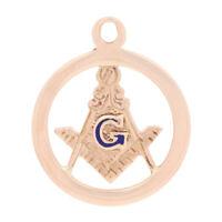 Blue Lodge Master Mason Charm - 10k Rose Gold Blue Enamel Masonic Pendant