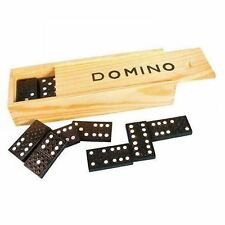 CHILDREN'S WOODEN BOXED DOMINOES SET [Toy] Traditional Classic Kids Fun Black