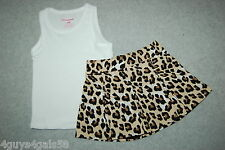 Baby Girls 12 MO Outfit LEOPARD PRINT SKORT Brown Black Pleated WHITE TANK TOP