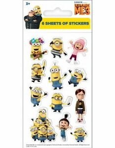 6 Sticker Sheets - Despicable Me (Party Loot Bag Favour Toys Children' Birthday)