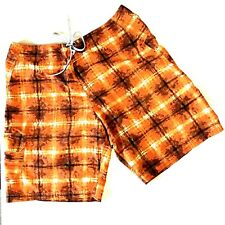 Columbia Mens Shorts 36 Board Swim Suit Trunks Orange Tie Dye Plaid 69742