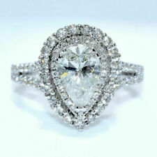 3.55Ct Ct Pear Cut Diamond Double Halo Engagement Ring 14K White Gold Finish