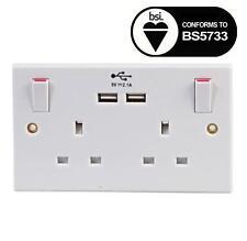Gb Zócalo Doble USB 13A 2 Tomas Eléctrico Enchufe de Pared Placa + 2