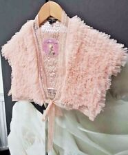 TRAFFIC PEOPLE PINK NUDE TULLE EMBELLISHED RUFFLE COVER UP SHRUG TOP XS 6 8 £80!