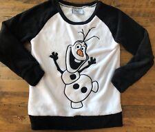 Disney Frozen Olaf Fleece Sweatshirt Women's Large Sweater White Black Warm Hugs