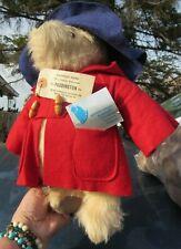 "VINTAGE TEDDY BEAR GABRIELLE 1981 PADDINGTON 14"" ENGLAND RARE 2 TAGS RED COAT"