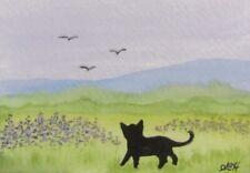 """ACEO Original Painting ~ Little Cat ~ """"Lavendar Landscape"""" ~ Miniature Art"""