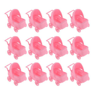 12pcs Plastic Baby Carriage Baby Shower Table Decor Baptism Party Favor Pink