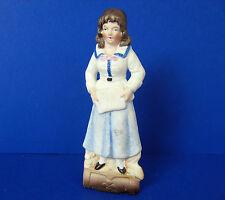 "Antique Bisque Porcelain Girl  5"" Figurine WKC Germany"