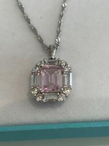 MICHELLE MONE DIAMONIQUE SIMULATED PINK DIAMOND PENDANT + CHAIN