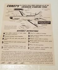 Vintage 50's Comet's Lockheed Starfire F94C Airplane Model Kit Instruction Sheet