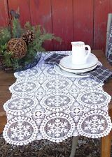 "Table Runner 39"" L - Yuletide in White by Heritage Lace - Snowflake Christmas"