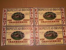 4 Antique New Jersey EATMOR Homestead Brand Cranberry 1/2 US Barrel Crate Label