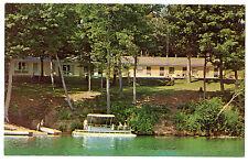DIXON LAKE APT. MOTEL Gaylord MI PONTOON BOAT Vintage 1960s Advertising Postcard
