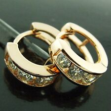 FS198 18K ROSE G/F GOLD SOLID CLASSIC DIAMOND SIMULATED HUGGIE HOOP EARRINGS