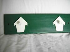 "Wood Peg Rack w. birdhouses - Painted - 18 "" long X 5"" W - blue, violet or green"