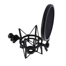 Microphone Shock Mount Stand Holder with Integrated Pop Filter Black Kit  GA