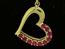 P018- Beautiful Genuine 9K SOLID Yellow Gold NATURAL Ruby Love HEART Pendant