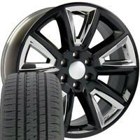 20x8.5 Wheels Tires Fit Yukon Tahoe Silverado Sierra Blk w/Chrome BDA 5696 W1X