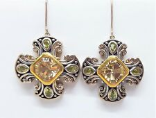 Sterling Silver 925 Yellow Citrine Green Peridot Canturberry Cross Earrings
