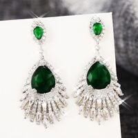 18K White Gold Filled Created Crystal Teardrop Wedding Party Chandelier Earrings