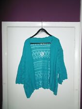 Plus Size Womens Turquoise Diamond Knit pattern Bolero