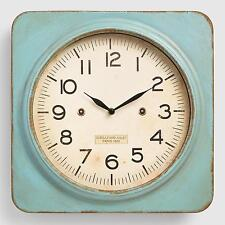 Aqua Metal Square Wall Clock: Green by World Market