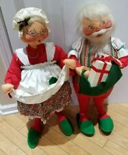 """VTG 1980's ANNALEE LARGE SANTA CLAUS AND MISS CLAUSS JUMBO SIZE 32"""""""