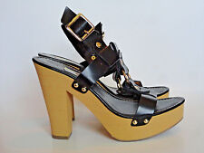 MOSSIMO {Size 9.5} Women's Black Strap Wooden High Heel Chunky Sandals EXCELLENT