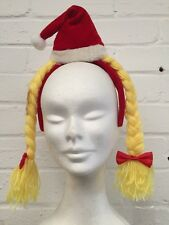 LADIES SANTA HEADBAND WITH YELLOW PLAITS Novelty Christmas Party Boppers 13107