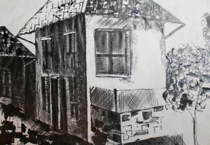 VINTAGE INK DRAWING CITYSCAPE HOUSE