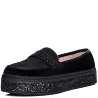 Womens Glitter Platform Flat Loafer Shoes