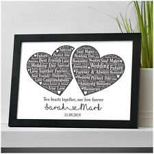 Personalised Wedding Gift for Bride and Groom Wedding Day Love Hearts Print Gift