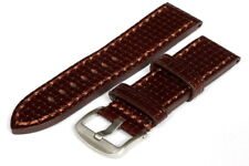 24MM Brown Leather Strap Stitched - High Quality - 120003