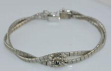 Vintage verschlungenes Damen Armband mit Saphir - 835 Silber / ca. 19,0 cm