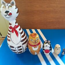 5 Piece Hand Painted Wood Nesting Dolls Animals Cat And Mouse