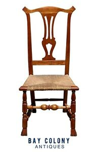 18TH C ANTIQUE CHIPPENDALE MAPLE SIDE CHAIR W/ SPANISH FEET & RUSH SEAT