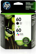 2 HP 60 Original Tri-Color & Black Ink Cartridge N9H63FN DeskJet Envy PhotoSmart