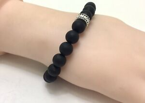 "Thomas Sabo Black Obsidian Bracelet, Expandable 6.5""/17cm RRP £79"
