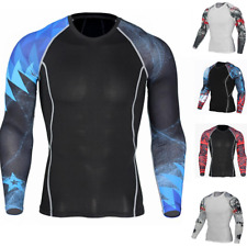 Bjj Mma Rash Guard Mens Compression Long Sleeve Top Jiu Jitsu Gym Rashguard Uk