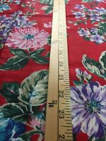 Red Cotton Fabric with Purple, Pink and Green Flowers