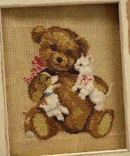 Petit Point Needlepoint Canvas Brown Teddy Bear With Doggie & Kitty