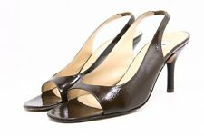 Isaac Mizrahi Womens Heels 8.5 B Brown Patent Leather Peep Slingback Dress Shoes