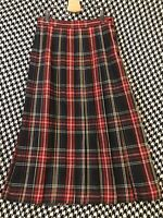 Vintage 1990s LLOYD Womens Size 8 Long Plaid Pleated Skirt Union Made USA Button