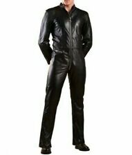 MENS GENUINE SOFT LEATHER CATSUIT OVERALL BODYSUIT JUMPSUIT BLACK