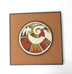 Vintage Fiber Art Needlepoint Mounted Framed Tribal Ethnic Textile Artwork